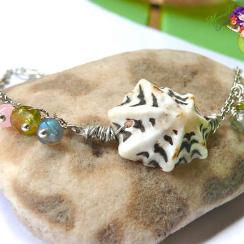 Seashell Ankle Bracelet - Hawaiian jewelry, sea shell anklet made in Hawaii by Mermaid Tears