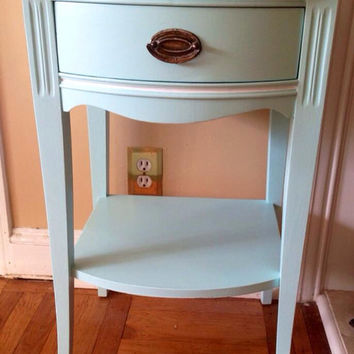 Antique 1940's Mengel Brand Night Table Hand Painted in Robins Egg Blue Mahogany Top