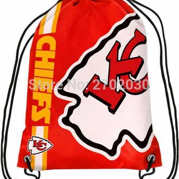 Kansas City Chiefs Drawstring Bags Men Sports Backpack Digital Printing Pouch Customize Bags 35*45cm Sports US Fottball Team