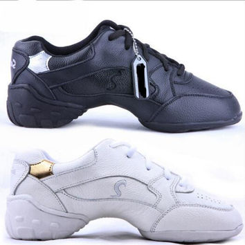 Professional Women Dance Shoes Sneakers Ladies Leather Square Line Dance Shoes White Black Modern Jazz Dance Shoes