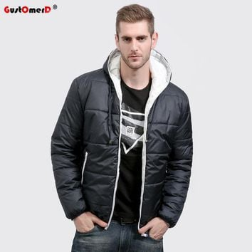 GustOmerD Brand Winter Coat Men Casual Hoodied Patchwork Cotton Padding Parka Men Clothing Winter Jacket Men