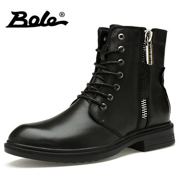 BOLE New Handmade Leather Men Boots Designer Lace Up Side Metal Zipper Men Motorcycle Boots Low Heel Ankle Boots Men Size 36-46
