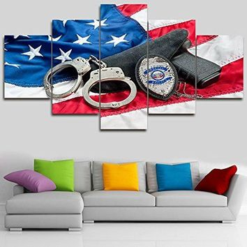5 Panel Canvas American Flag Wall Art for Living Room Police Badge Pictures Law Enforcement in the United States Artwork Modern Home Decor Framed Posters and Prints Ready to Hang(60''Wx32''H)