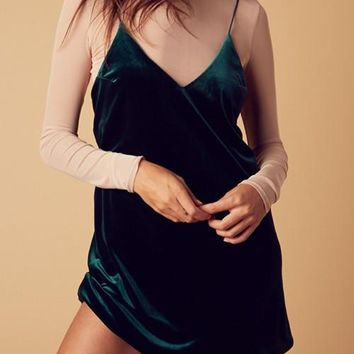 Evergreen Velvet Tank Dress
