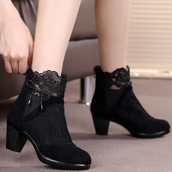 Leather Medium Heel Boots