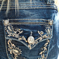 GRACE IN L.A. PAISLEY BOOTCUT JEANS