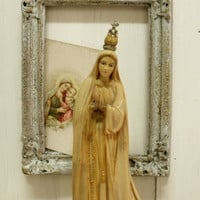 Vintage Our Lady Fatima Virgin Mary statue with Crown Peace doves altered Our Lady kitsch religious art