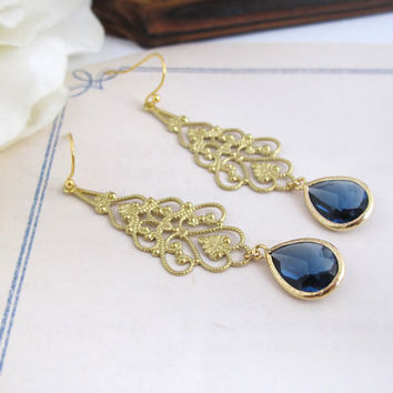 Blue Montana Jewel Drops, Modern Lace Filigree Earrings. Dangle Earrings. Bridal Jewelry Wedding Gift. Bridesmaid gift, For Her