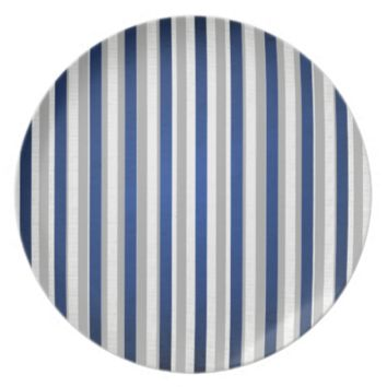 Stylish Royal Blue Silver Grey Striped Pattern Dinner Plates