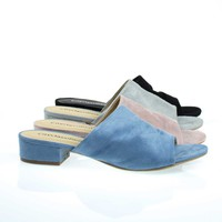 Kench Blue By City Classified, Low Chunky Block Heel Mule / Slipper Sandals, Women's Open Toe Slides