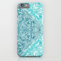 Teal Tangle Square iPhone & iPod Case by Micklyn