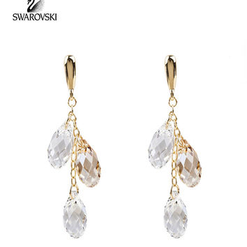 Swarovski Clear/Golden Shadow Crystal LAGOON Pierced Earrings Gold #1098484