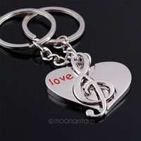 lovers keychain Buckle gift couple key chain ring heart & music Note love
