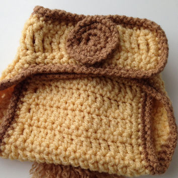 Giraffe Baby Diaper Cover - Cornmeal Yellow and Brown - Diaper Cover With Tail - Handmade Crochet - Made to Order