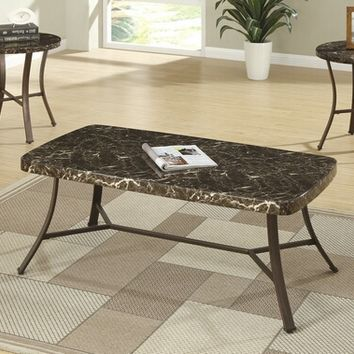 3 pc gray and black faux marble rounded edge coffee and end table set with metal legs
