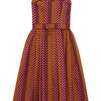 House of Holland - Pleated chevron jacquard dress