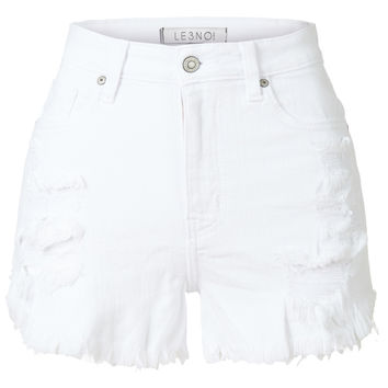 LE3NO Womens Stretchy White High Waisted Ripped Frayed Denim Short with Pockets