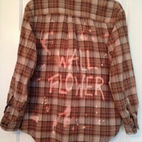 "Plaid shirt ""Wall Flower"" hand bleached shirt // soft grunge"