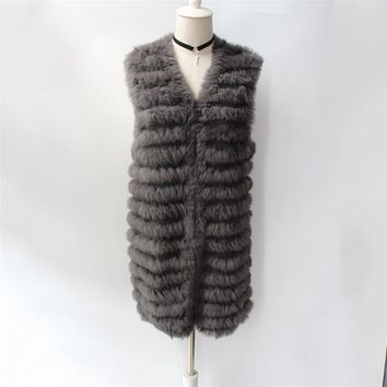 Rabbit knit vest Rabbit Fur Vest Coat pure hand-woven long fur vest Casual Thick Warm Fur Knitted V-Neck Sleeveless Wide-waisted