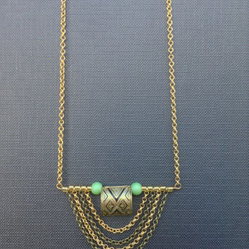 ART DECO Necklace // Unique Necklace // Mint and Gold Necklace // Upcycled necklace // LIMITED edition jewelry //Gift For her Christmas gift