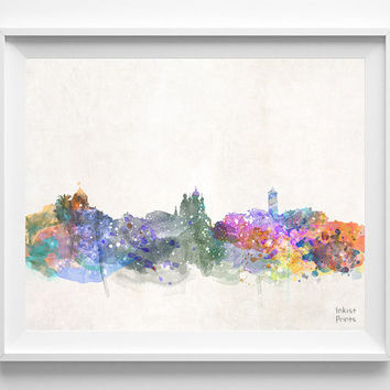 France Skyline, Nice Watercolor, Poster, French, Print, Bedroom, Art, Cityscape, City Painting, Illustration Art, Europe, Giclee [NO 434]