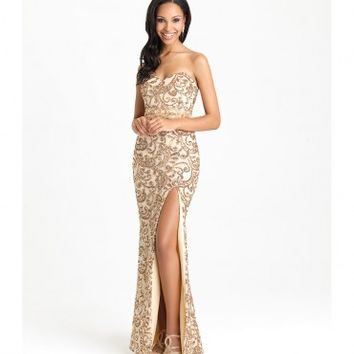 Preorder - Madison James 16-333 Champagne Sexy Sweetheart Sequin Long Dress 2016 Prom Dresses