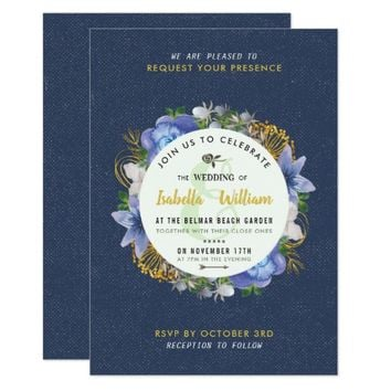 Blue Gold Hydrangeas Floral Save the Date Wedding Card