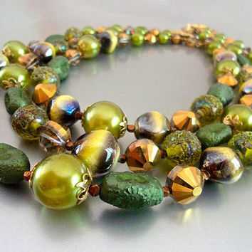 VENDOME Green Triple Strand Necklace, Art Glass, AB Crystals, Vintage