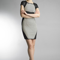 Historic New York Ceramic Tile Leather Laser Cut Black and White Dress