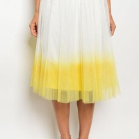 Lexe Yellow Dipped Tulle Midi Skirt