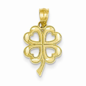 14k Yellow Gold Four Leaf Clover Pendant