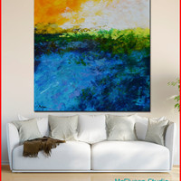 """Original OIL  Painting Large  Abstract Landscape Painting  40"""" x 40"""" x 1.5""""   Canvas by Claire McElveen"""