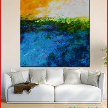 "Original OIL  Painting Large  Abstract Landscape Painting  40"" x 40"" x 1.5""   Canvas by Claire McElveen"