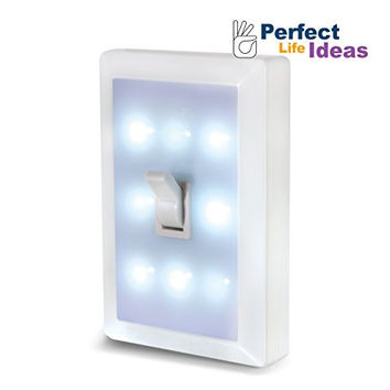 Perfect Life Ideas Light Switch Night Light Lamp Low Voltage 8 Led's Lighting for Baby Nursery, Bedroom, Closets, Hospital Bed, Battery Operated, Cordless, No Wiring Needed. 1 Piece