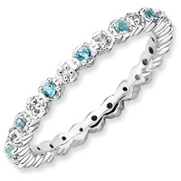 Blue Topaz and Diamond Eternity Stackable Ring 1/20ctw