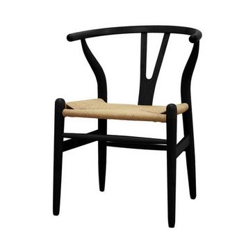 Baxton Studio Mid-Century Modern Wishbone Chair - Black Wood Y Chair Set of 2