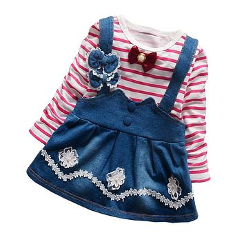 BibiCola 2 pcs Spring Autumn baby girls clothing sets toddler children tops t-shirt + overalls dress set baby girls clothes set