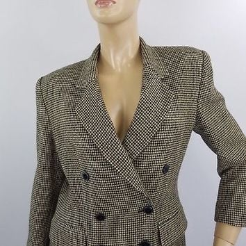 Jones New York Carrier Suit Jacket Houndstooth Classic Double Breasted Sz 8 Wool
