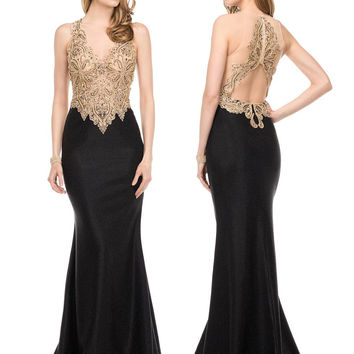 Colors 1545 Black and Gold Beaded Prom Evening Dress