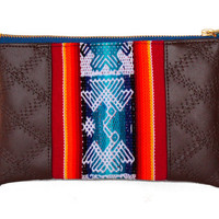 Peruvian Aguayo Manta Zipper Pull Clutch. Wristlet clutch bag. Pouch with Zipper Pull, Leather Wristlet Strap or pom poms. Woman evening bag