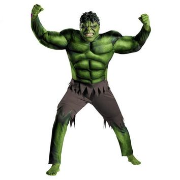 Super Hero Hulk Cosplay Costume Adult Muscle Jumpsuit Mask For Man