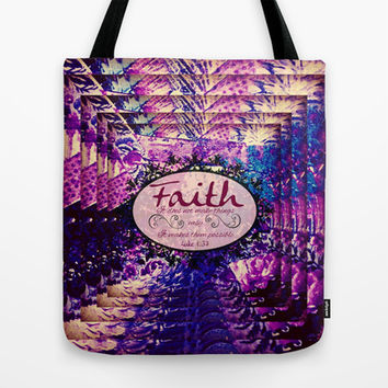 FAITH Colorful Purple Christian Luke Bible Verse Inspiration Believe Floral Modern Typography Art Tote Bag by The Faithful Canvas