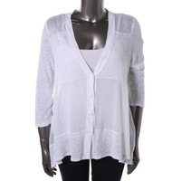 Cable & Gauge Womens Linen Blend Button-down Cardigan Top