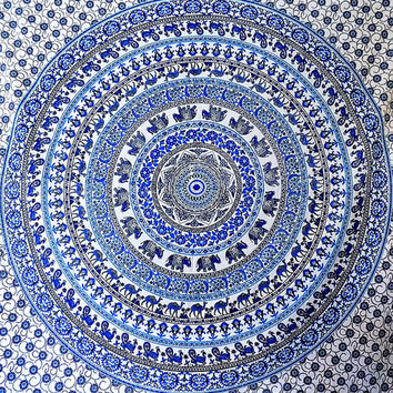 Blue Elephant Hippie Tapestry White Mandala Wall Hanging Bohemian Bedding Throw Indian Bedspread ethnic home decorative art