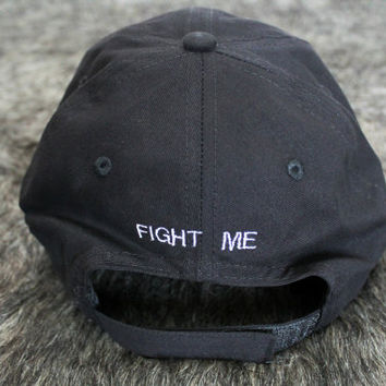Fight Me back Black Baseball Hat