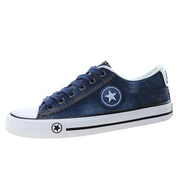Simple Women's Sneakers Blue Denim Canvas Shoes Ladies Skateboarding Shoes New Design Trainers Stars Flats Basket Tenis Feminino