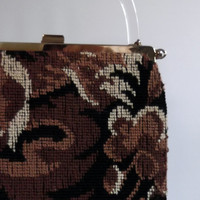 Vintage 1960s Needlepoint Handbag Lucite Handle Removable Covering