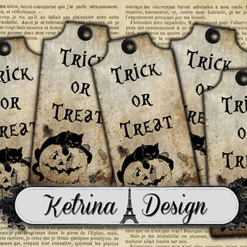 Vintage Halloween Trick or Treat Gift Tags instant download