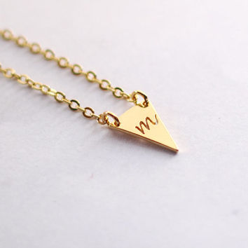 Tiny Triangle Gold Necklace, Initial charm Necklace, best friends gift