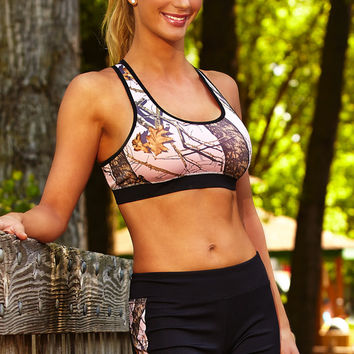 Black Active Shorts with Mossy Oak Pink Break up Side Stripes